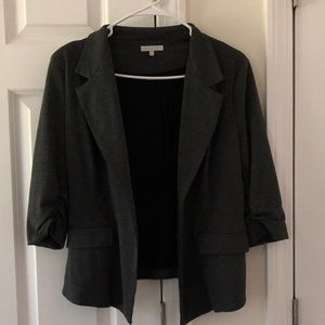 Grey sweater material blazer